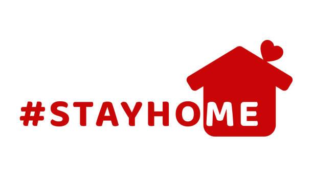 ilustraciones, imágenes clip art, dibujos animados e iconos de stock de #stayhome - quédate en casa hashtag con casa roja y mini corazón. vamos a permanecer en casa icono de campaña para la prevención de coronavirus o covid-19. - stay home