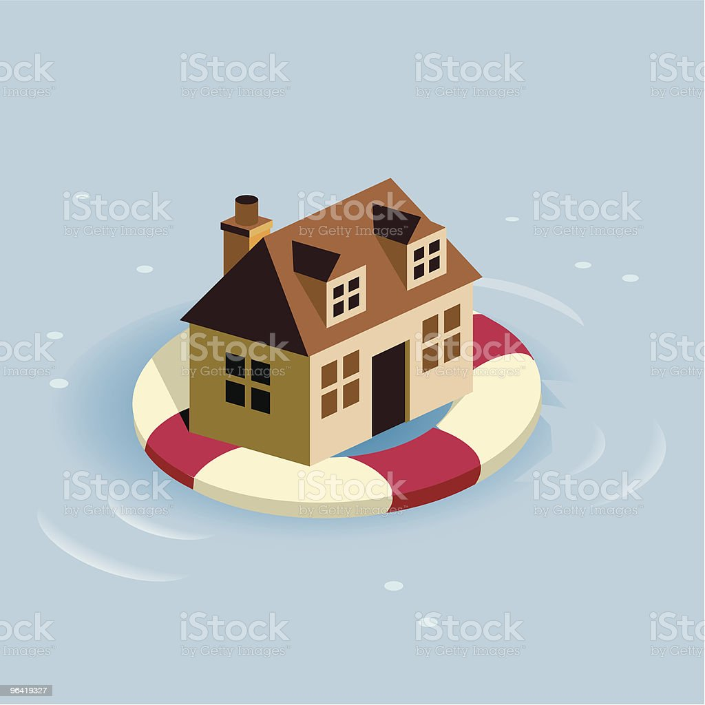 Staying Afloat vector art illustration