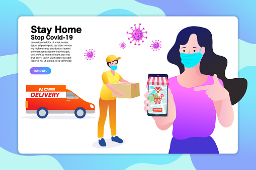 Staying home can reduce the risk of coronavirus infection. Women use smartphone to order food and products online. New normal lifestyle to shopping.