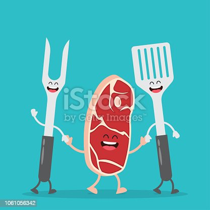Steak and barbecue tools. BBQ party. Funny meat set. Vector illustration