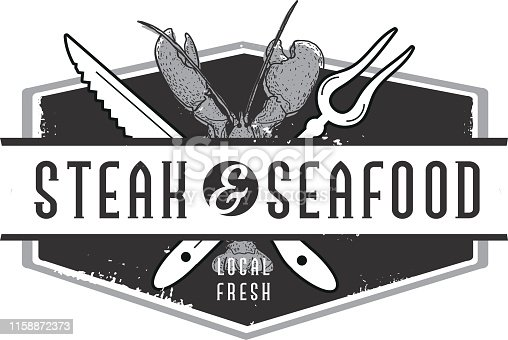 istock Steak and Seafood Labels with text designs as well as grill elements 1158872373