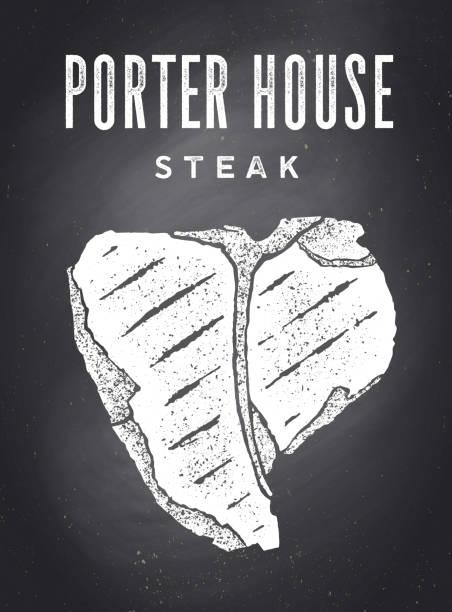 ilustrações de stock, clip art, desenhos animados e ícones de steak, chalkboard. kitchen poster with steak silhouette - beef angus