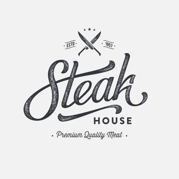 ilustrações de stock, clip art, desenhos animados e ícones de steak emblem gray - meat texture