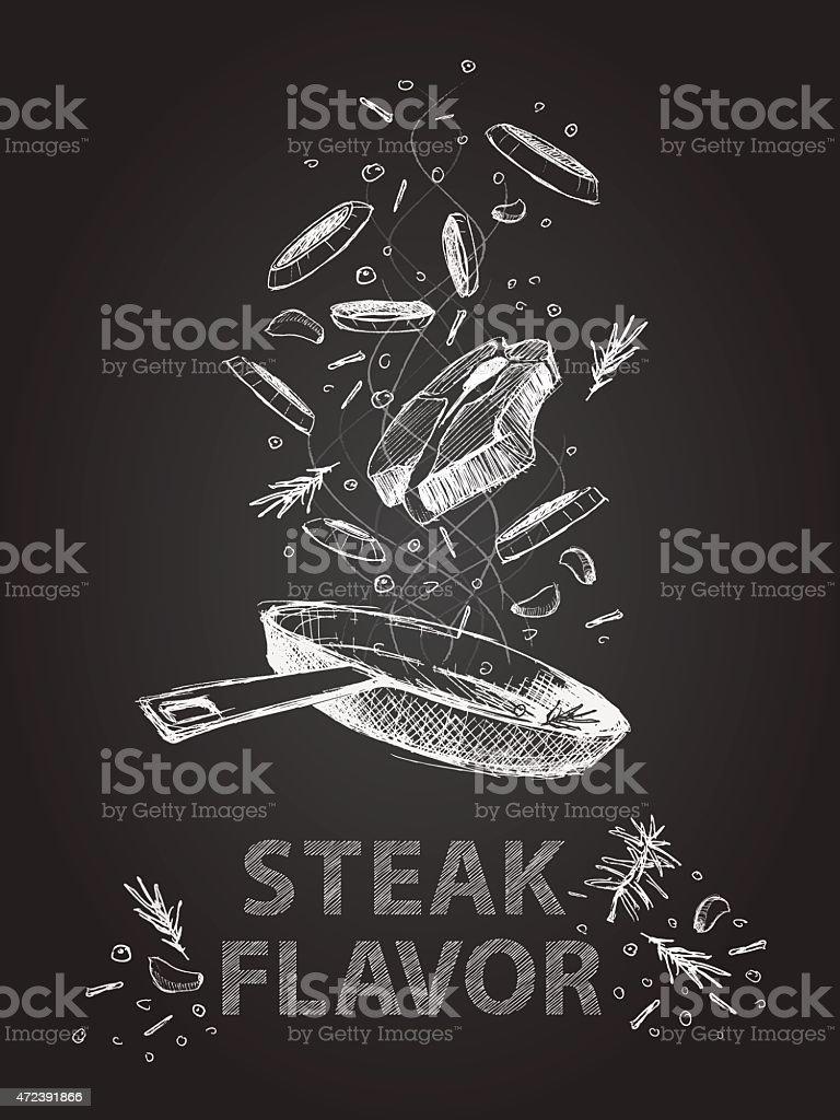 Steak flavor quotes illustration on chalkboard vector art illustration