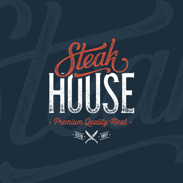 steakhaus blau - roastbeef stock-grafiken, -clipart, -cartoons und -symbole