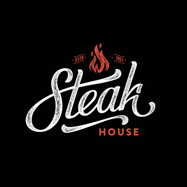 illustrations, cliparts, dessins animés et icônes de steak house feu noir - barbecue