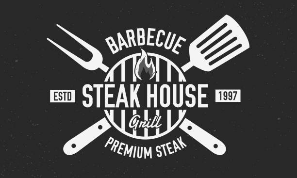 steak house logo. bbq logo with barbecue grill, spatula and grill fork isolated on black background. vector emblem template. - grill stock illustrations