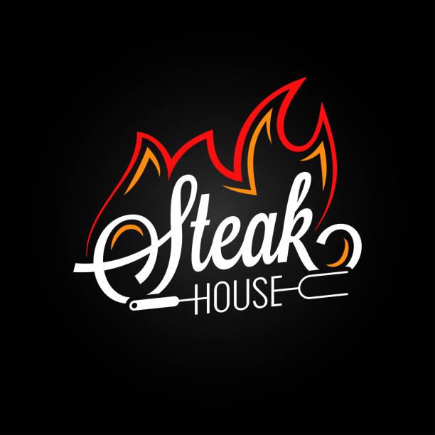 ilustrações, clipart, desenhos animados e ícones de logotipo de churrascaria com fogo no fundo preto - churrasco