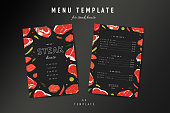 istock Steak house menu template, meat restaurant menu card design layout. Hand drawn illustration of beefsteaks rib eye and t-bone on black background. Steakhouse flyer or banner with price 1291583141