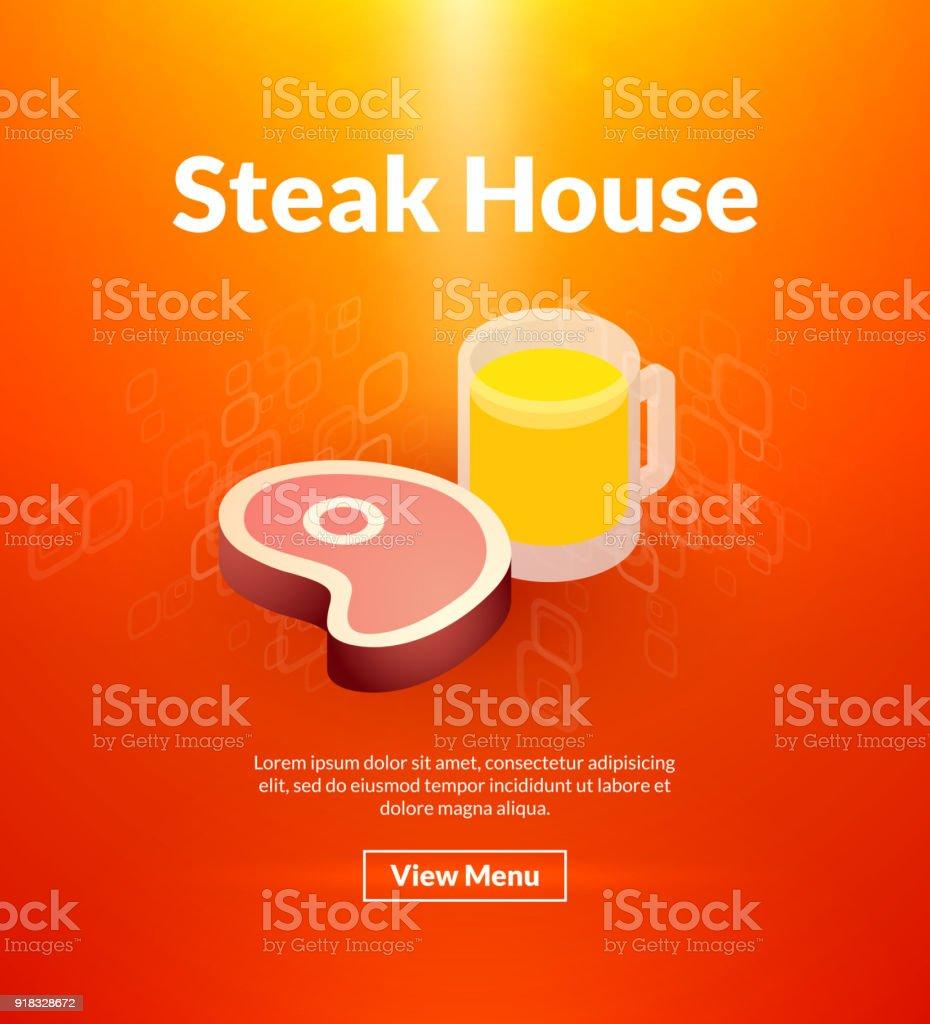 Steak house poster of isometric color design vector art illustration