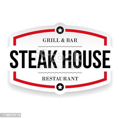 istock Steak House Restaurant vintage sign 1196078179