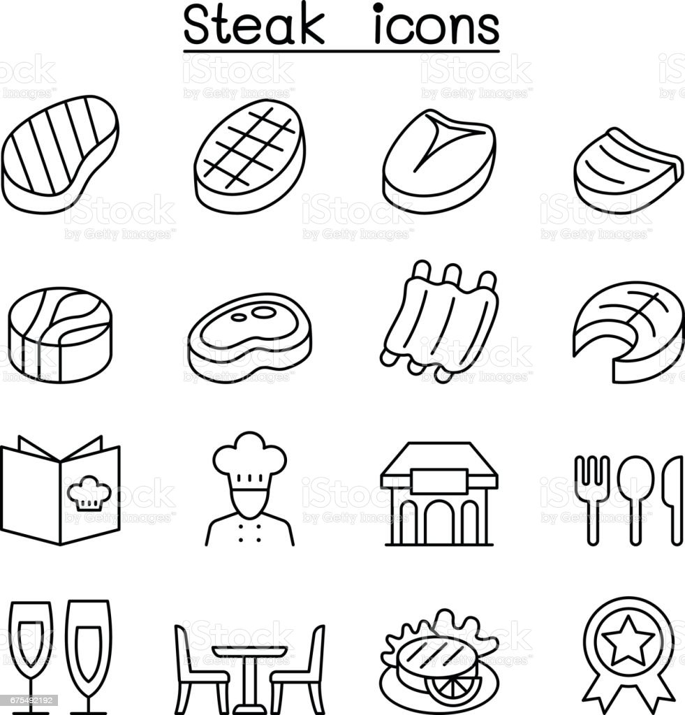 Steak icon set in thin line style vector art illustration