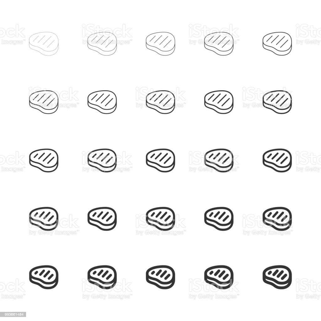 Steak Icons - Multi Line Series vector art illustration