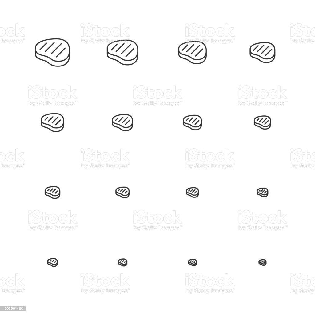 Steak Icons - Multi Scale Line Series vector art illustration