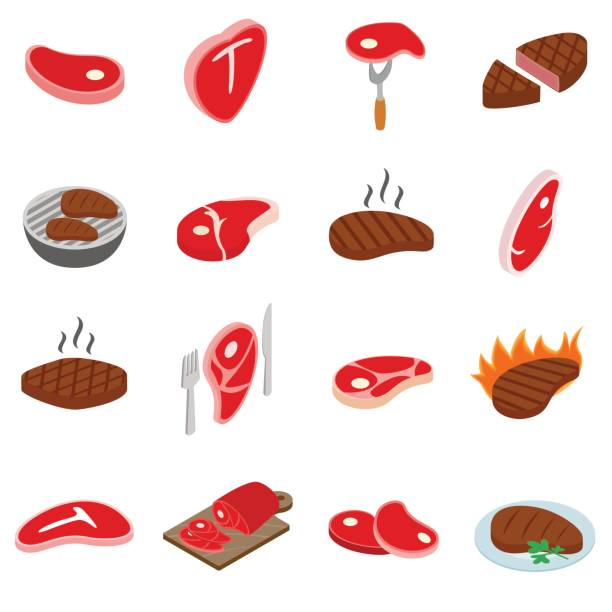 Steak icons set, isometric 3d style vector art illustration
