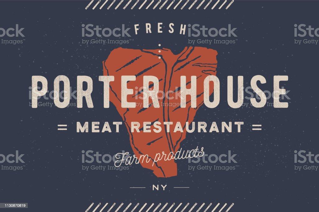Steak Label Meat Label Label With Steak Silhouette Stock