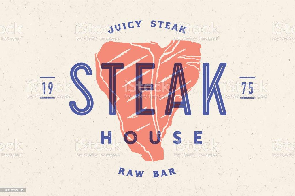 Steak Logo Meat Label Logo With Steak Silhouette Stock