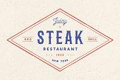 Steak, logo, meat label. Logo with text steak restaurant, juicy steak, bbq, grill. Logo template for meat business - shop, market, restaurant or design banner sticker, menu. Vector Illustration