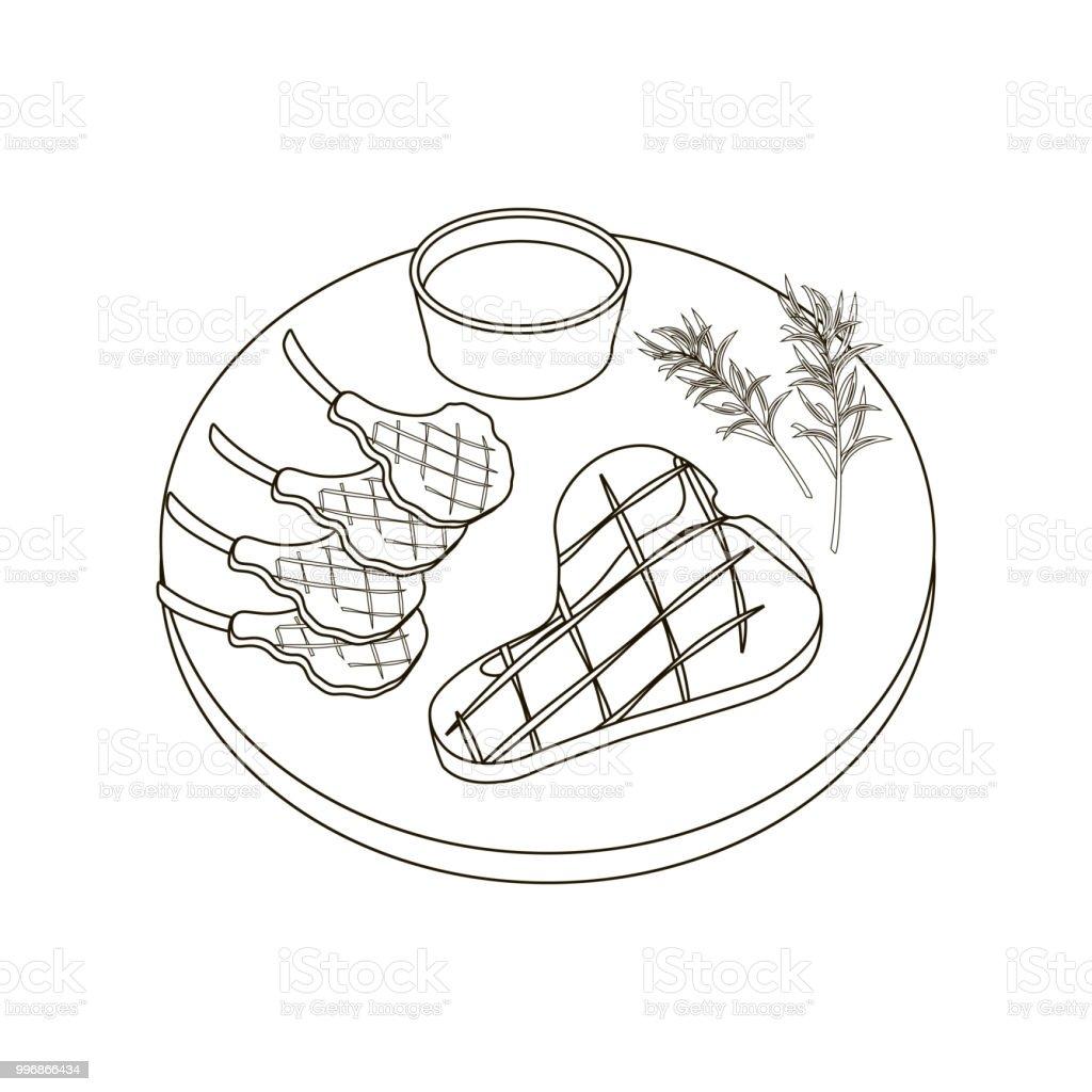 Biftek Et Boyama Sayfalari Stok Vektor Sanati Aksam Yemegi Nin