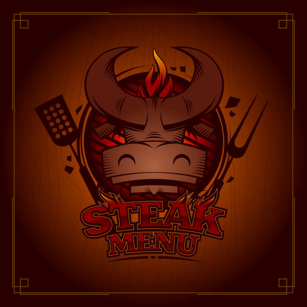 ilustrações de stock, clip art, desenhos animados e ícones de steak menu card cover design with bull head on a grill - burned cooking