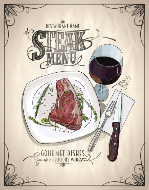 Steak menu design concept with graphic illustration of a fillet mignon steak on a plate Steak menu design concept with graphic illustration of a fillet mignon steak on a plate and glass of wine, vintage style cooking borders stock illustrations
