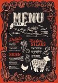 Steak menu template for restaurant on a blackboard background vector illustration brochure for food and drink cafe. Design layout with vintage lettering and frame of hand-drawn graphic vegetables.