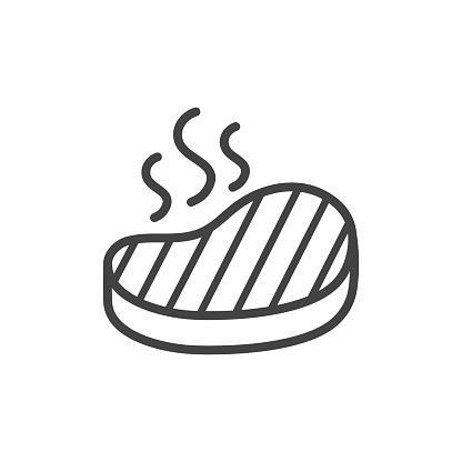 Steak outline icon. Vector Illustration.