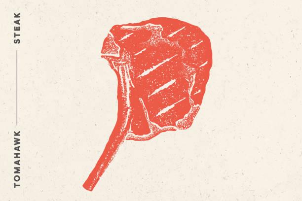 illustrazioni stock, clip art, cartoni animati e icone di tendenza di steak, tomahawk. poster with steak silhouette, text - carne