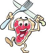Illustration of happy meal steak