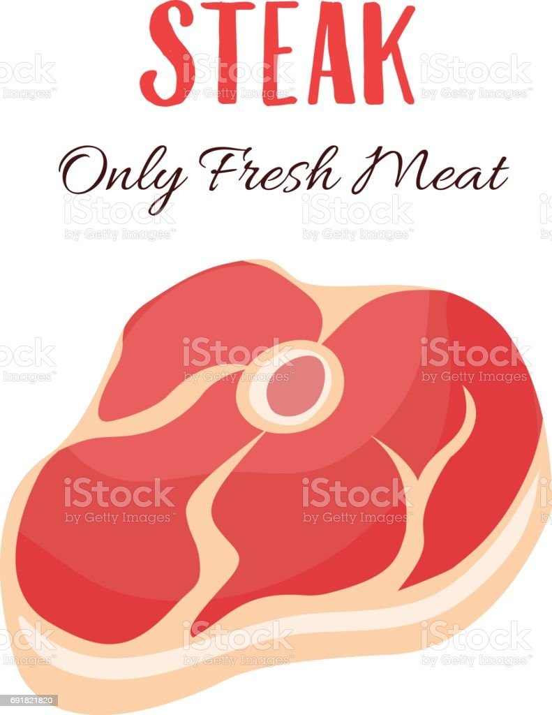 Steak vector illustration in cartoon style vector art illustration