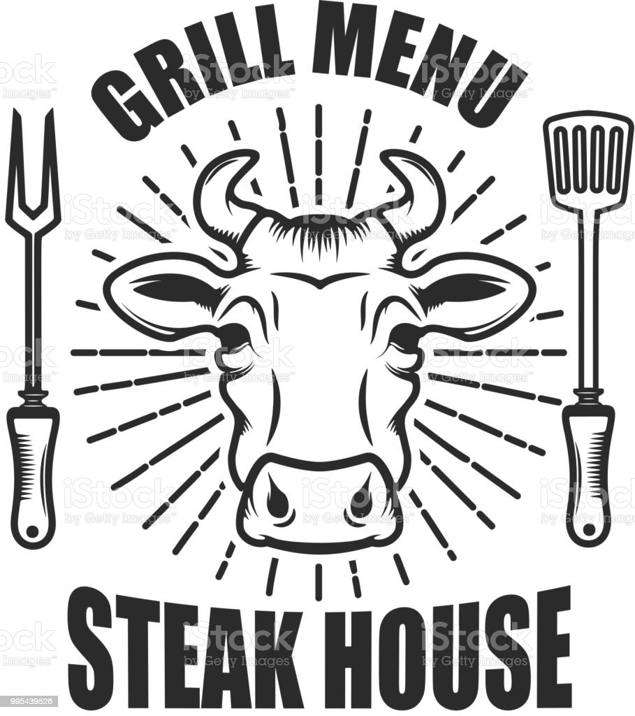 steakhouse emblem template with cow head and kitchen tools stock