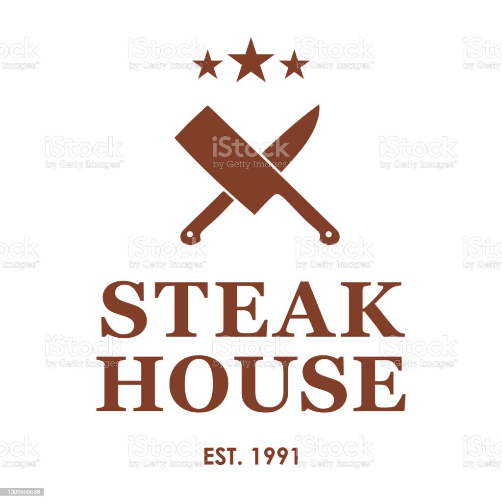 Steakhouseemblem Mit Gekreuzten Messern Steak House Oder Fleisch ...