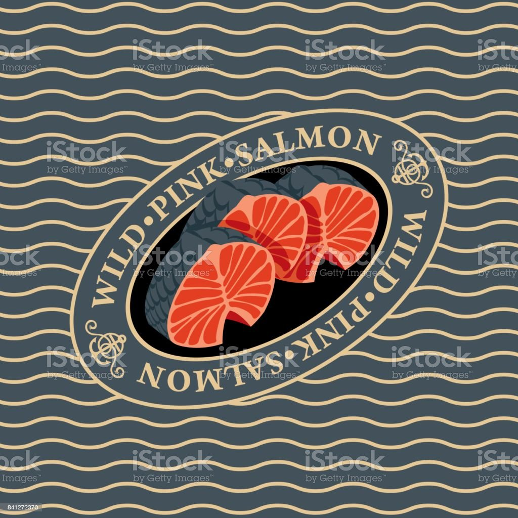 steaks of wild pink salmon on the waves background vector art illustration