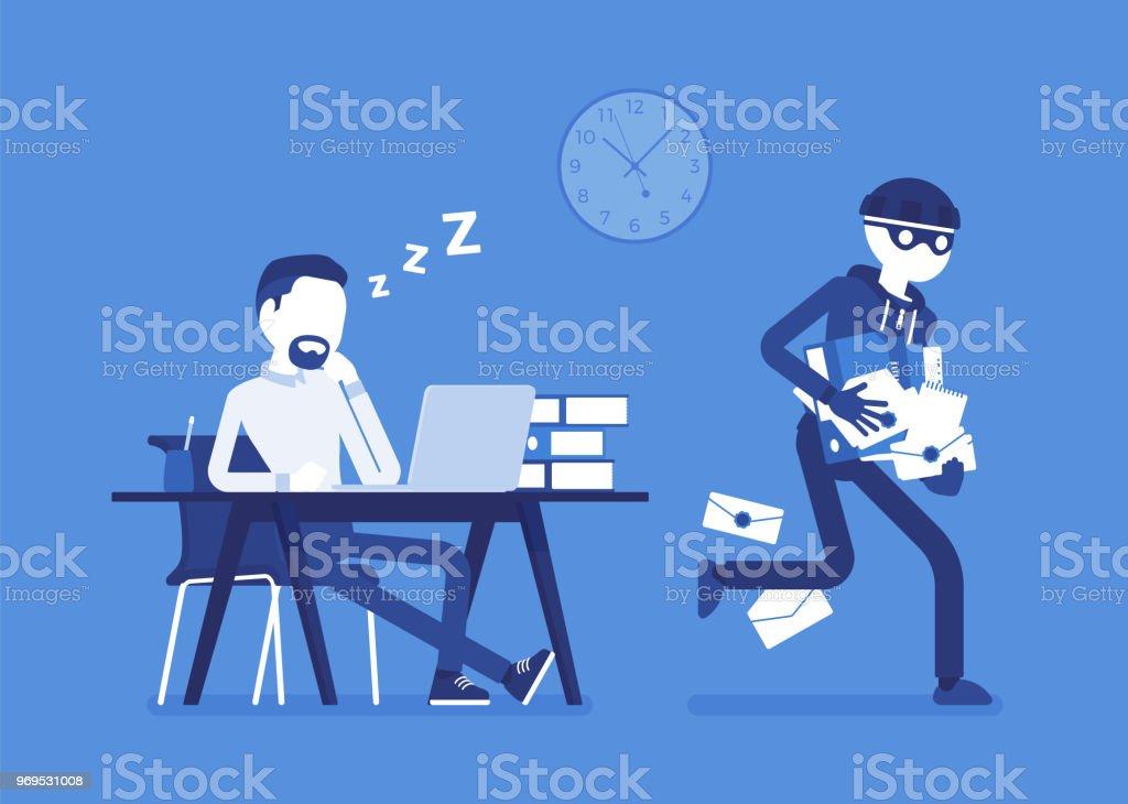 Diebstahl von Dokumenten Verbrechen – Vektorgrafik