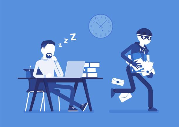 ilustrações, clipart, desenhos animados e ícones de roubando o crime de documentos - roubo de identidade