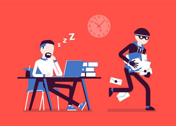 Delito robo de documentos - ilustración de arte vectorial