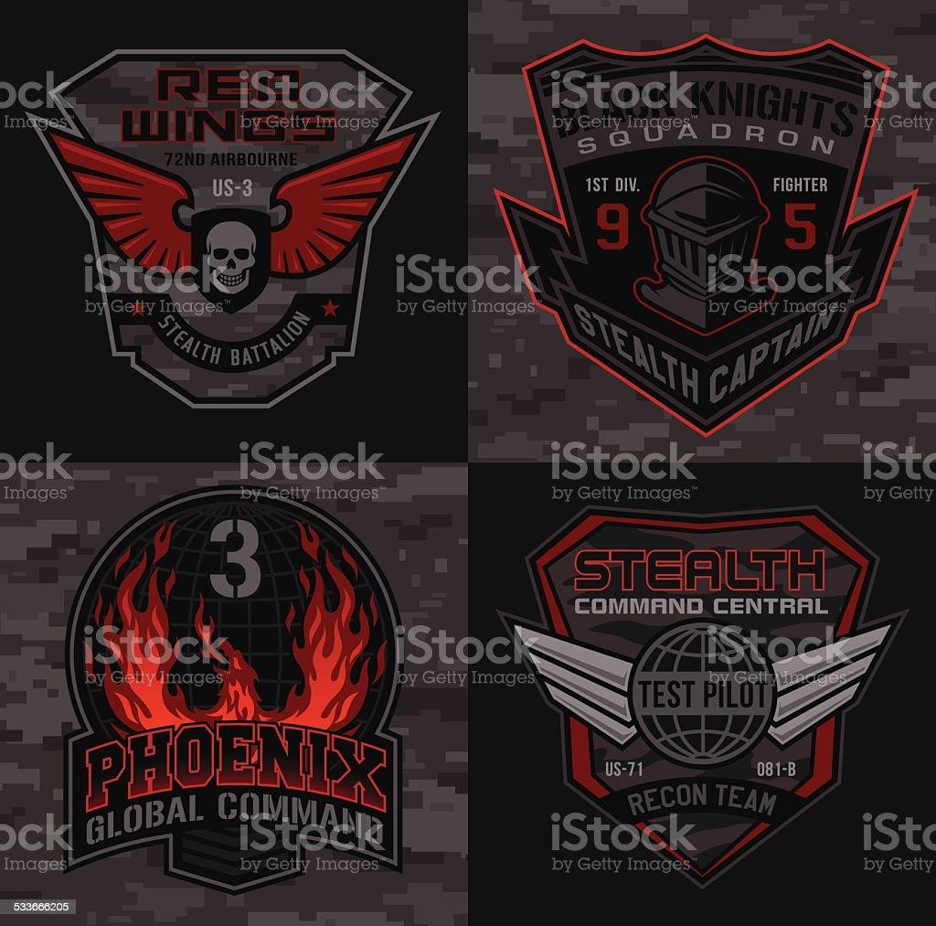 Stealth pilot military patch set vector art illustration