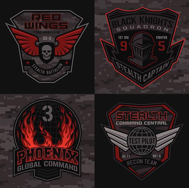 ilustrações, clipart, desenhos animados e ícones de militar patch conjunto piloto stealth - tatuagens de estrela