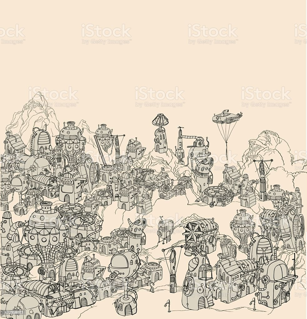 Steam city landscape. royalty-free stock vector art