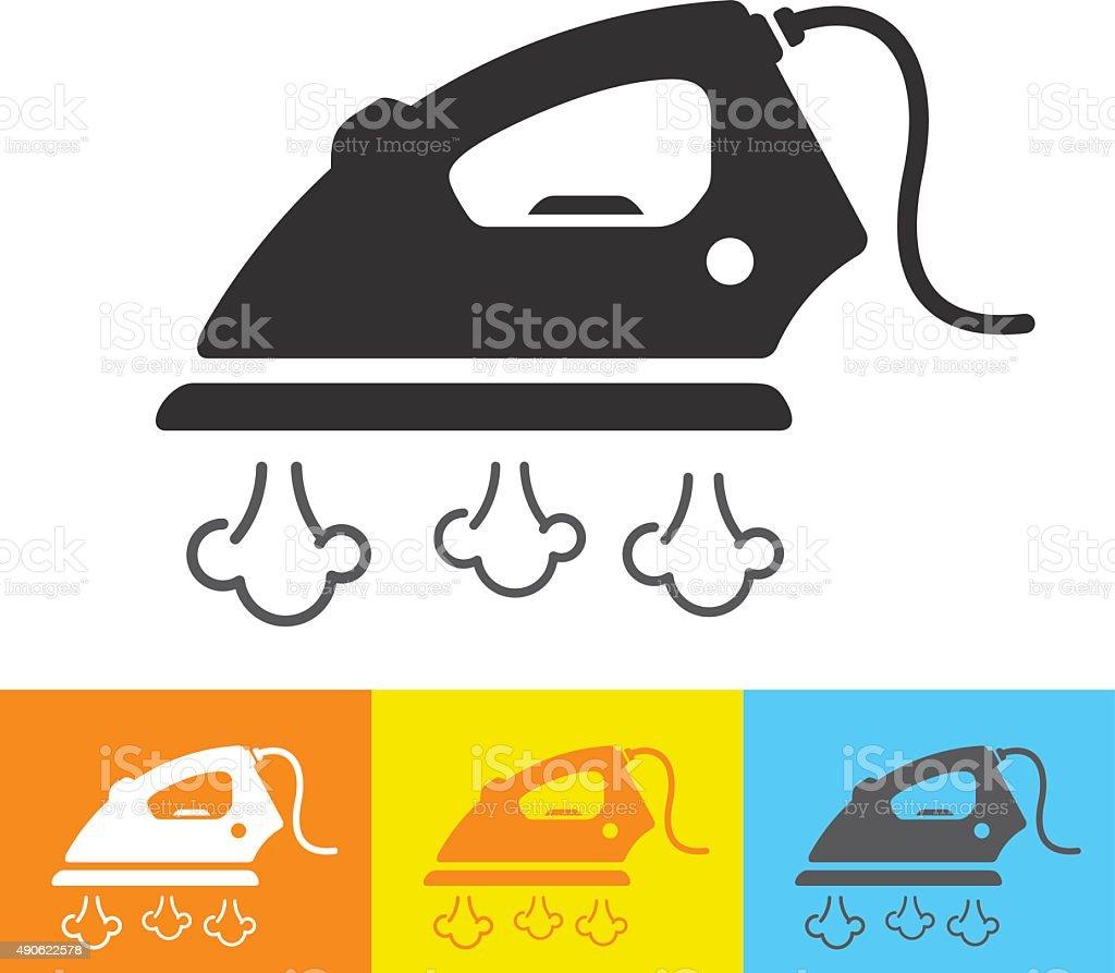Steam iron icon vector art illustration