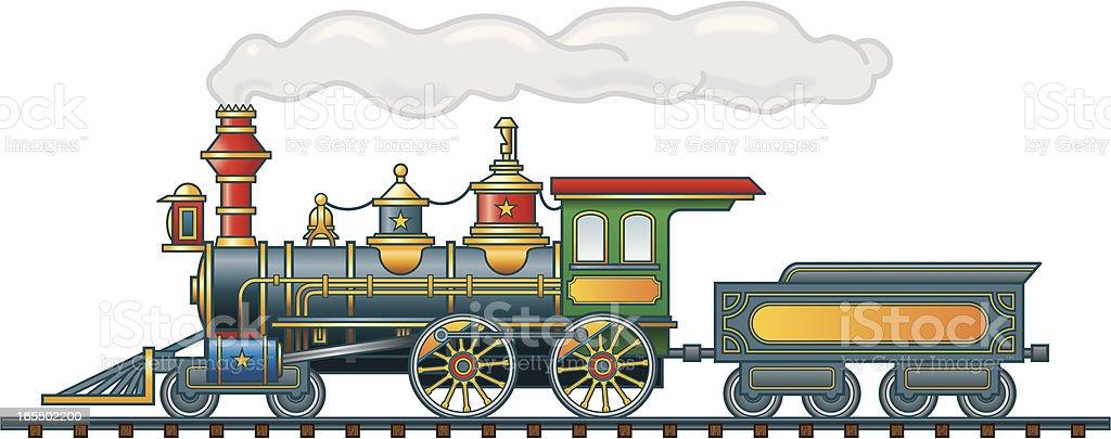 Steam Locomotive and Tender vector art illustration
