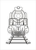 steam locomotive in black and white