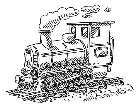 Steam Locomotive Train Drawing Stock Illustration - Download
