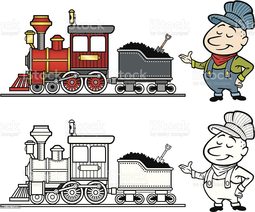 Steam Locomotive With Engineer royalty-free stock vector art