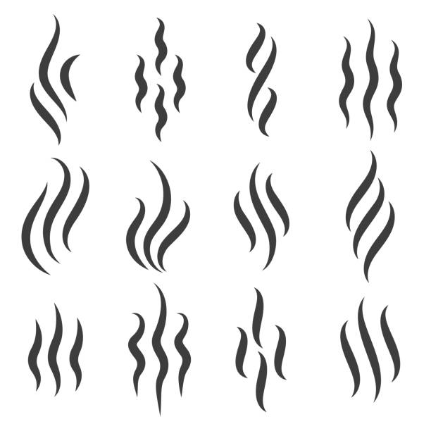 Steam or warm aroma smell mark Smell icons. Cooking steam or warm aroma smell mark, steaming vapour odour symbols aromatherapy stock illustrations