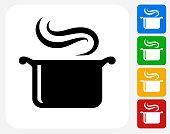 Steam Pot Icon Flat Graphic Design