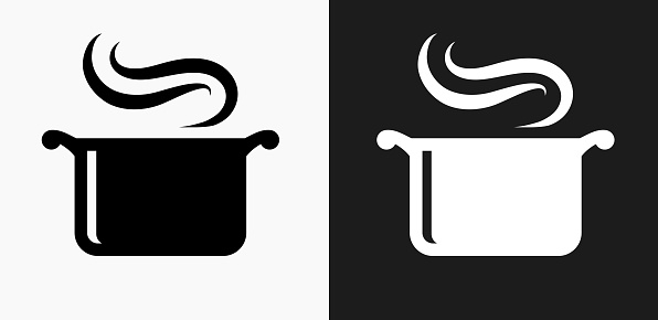 Steam Pot Icon on Black and White Vector Backgrounds. This vector illustration includes two variations of the icon one in black on a light background on the left and another version in white on a dark background positioned on the right. The vector icon is simple yet elegant and can be used in a variety of ways including website or mobile application icon. This royalty free image is 100% vector based and all design elements can be scaled to any size.