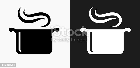 istock Steam Pot Icon on Black and White Vector Backgrounds 813388064