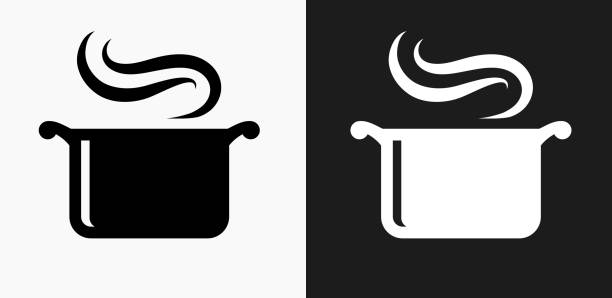 Steam Pot Icon on Black and White Vector Backgrounds Steam Pot Icon on Black and White Vector Backgrounds. This vector illustration includes two variations of the icon one in black on a light background on the left and another version in white on a dark background positioned on the right. The vector icon is simple yet elegant and can be used in a variety of ways including website or mobile application icon. This royalty free image is 100% vector based and all design elements can be scaled to any size. cooking black and white stock illustrations