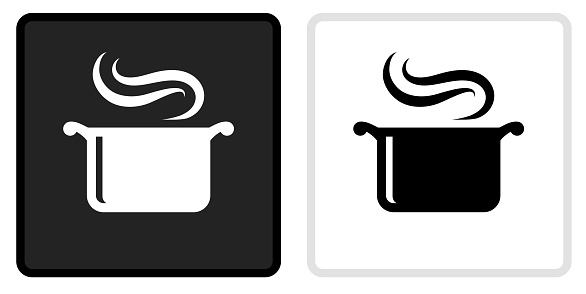 Steam Pot Icon on  Black Button with White Rollover